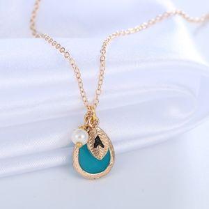 Jewelry - Gold Monogram J Leaf Blue Gem Pearl Charm Necklace